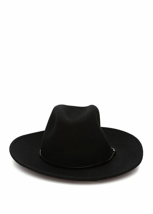 Siyah Kemerli Kadın Yün Kovboy Şapka