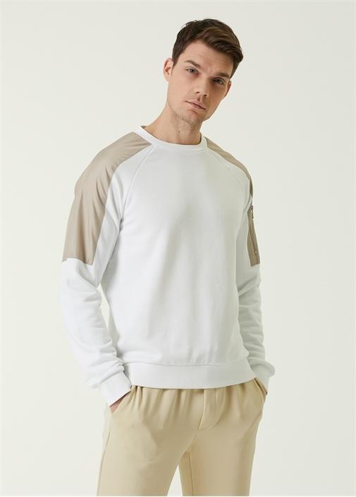 Beyaz Bej Reglan Kollu Garnili Sweatshirt