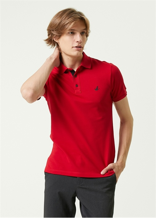 Slim Fit Kırmızı Polo Yaka Logolu T-shirt