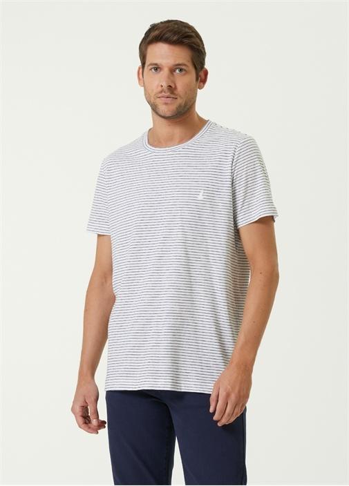 Beyaz Keten Çizgi Desenli Logolu T-shirt