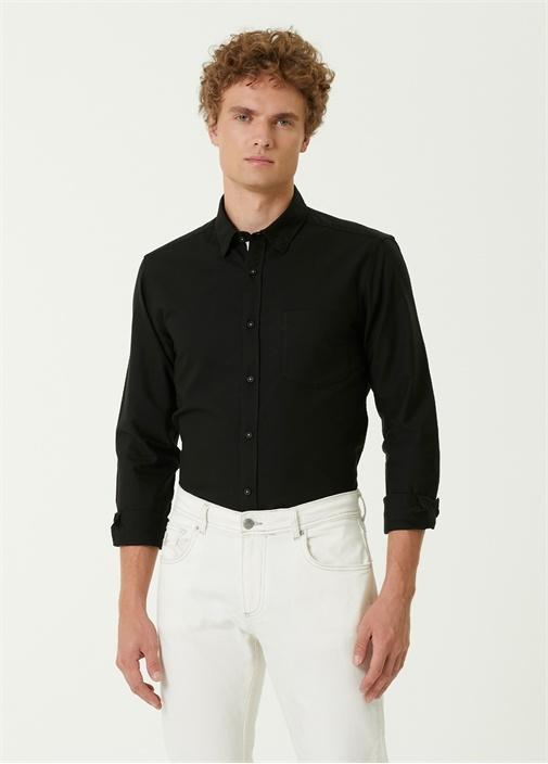 Slim Fit Siyah Logo Detaylı Oxford Gömlek