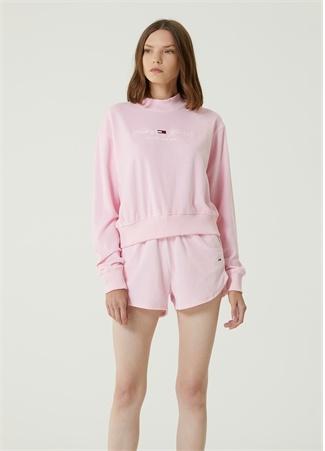 Tommy Jeans Kadın Pembe Kadife Sweatshirt L EU