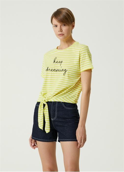 Neon Sarı Çizgili Beli Bağcıklı T-shirt