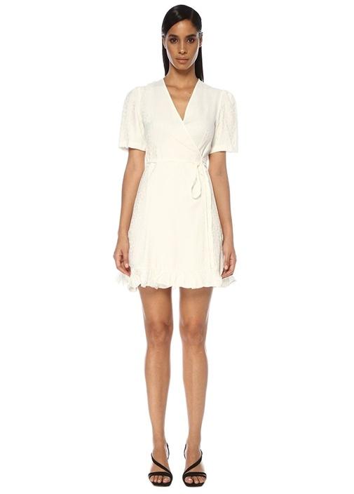Beyaz V Yaka Jakarlı Mini Anvelop Elbise