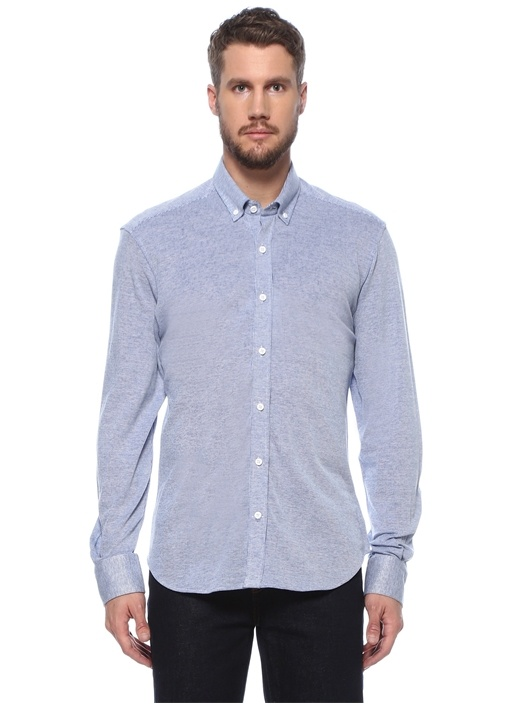 Comfort Fit Mavi Polo Yaka Örme Gömlek