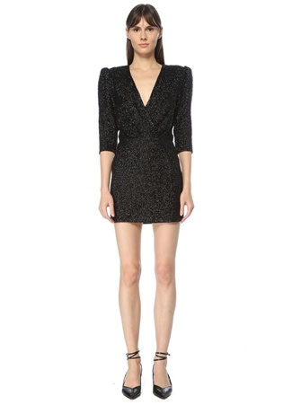 IRO Kadın Siyah V Yaka Payetli Mini Elbise 34 EU