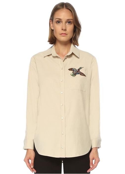 Bej İşleme Detaylı Kadife Bol Gömlek