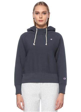 Champion Kadın Lacivert Kapüşonlu Reglan Kol Sweatshirt XS EU