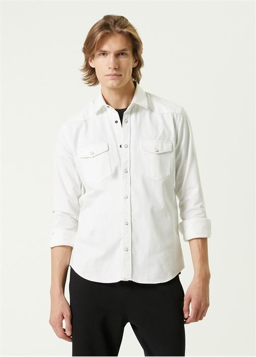 Beyaz Polo Yaka Gri Dikişli Denim Gömlek
