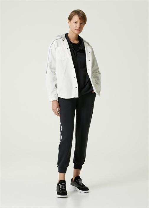 Beyaz Kapüşonlu Jean Ceket