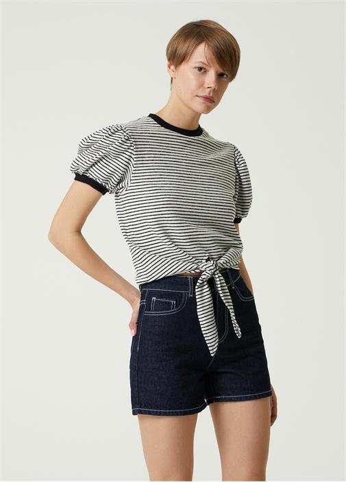 Siyah Beyaz Çizgili Balon Kol Havlu T-shirt