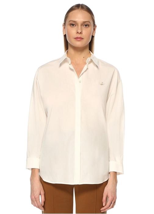 Beyaz Polo Yaka Yarasa Kollu Poplin Gömlek