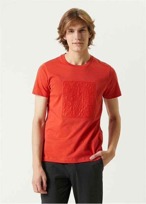 Turuncu Monogram Logo Detaylı T-shirt