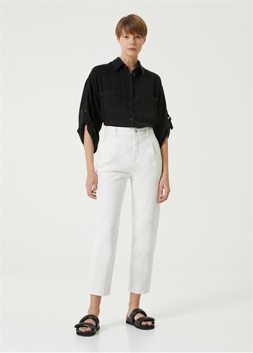 Straight Fit Beyaz Yüksek Bel Jean Pantolon