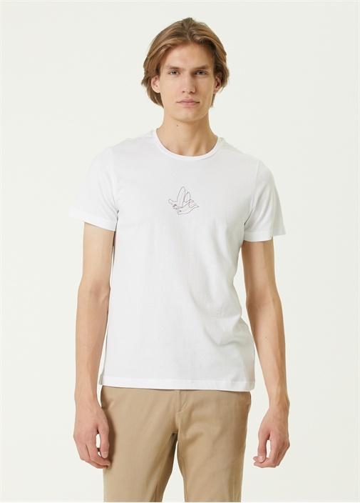 Beyaz Renkli Kuş Baskılı T-shirt