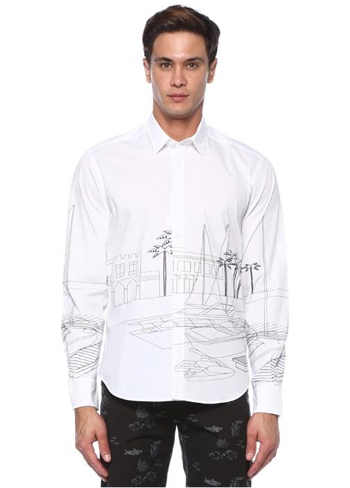 Comfort Fit Beyaz Desenli Gömlek