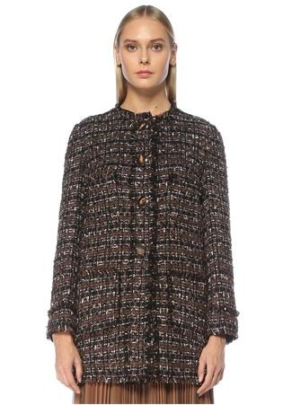 Dolce&Gabbana Kadın Kahverengi Tweed Dokulu Palto 40 IT