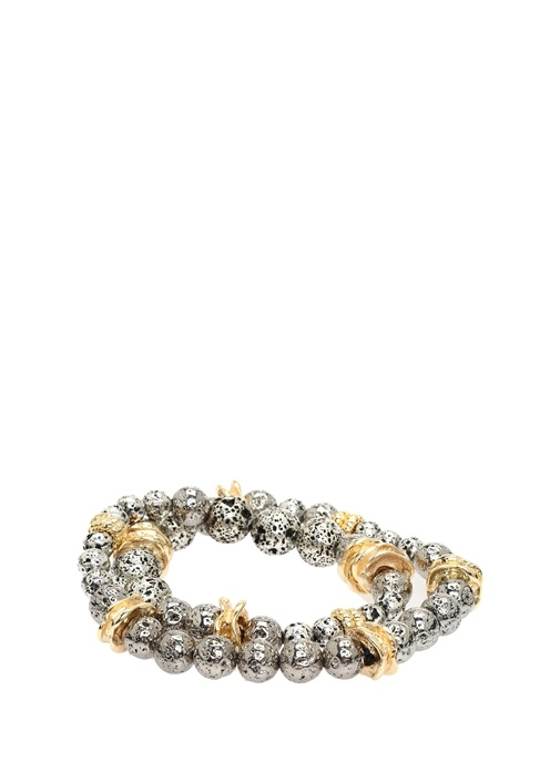 Silver Gold Çift Renkli Kadın Topçuk Bileklik
