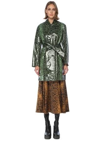 Dries Van Noten Kadın Yeşil Yılan Derisi Desenli Kuşaklı Palto Siyah 36 FR