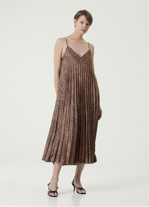 Kahverengi V Yaka Desenli Pilili Midi Elbise