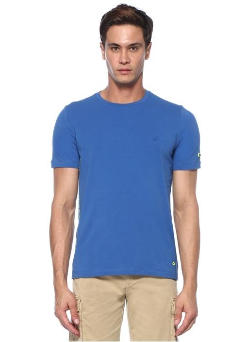 Mavi Yazı Baskılı Kuşgözü Detaylı T-shirt