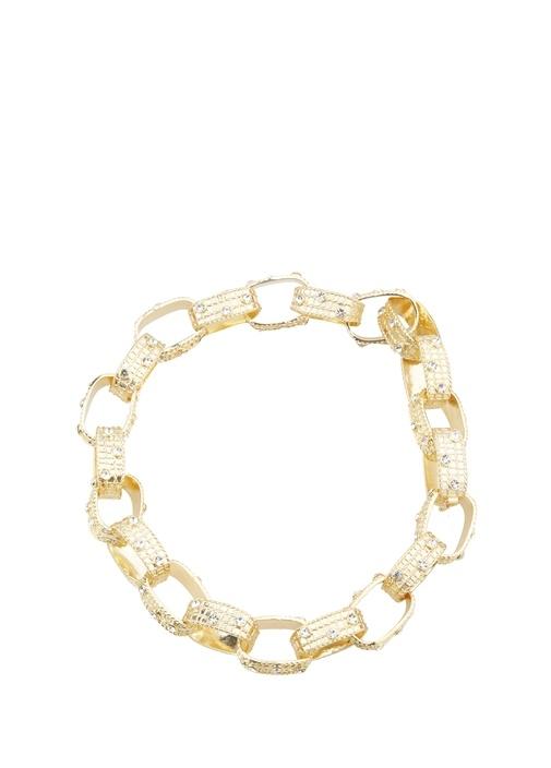 Gold Hasır Zincir Dokulu Kristal Taşlı Kadın Kolye