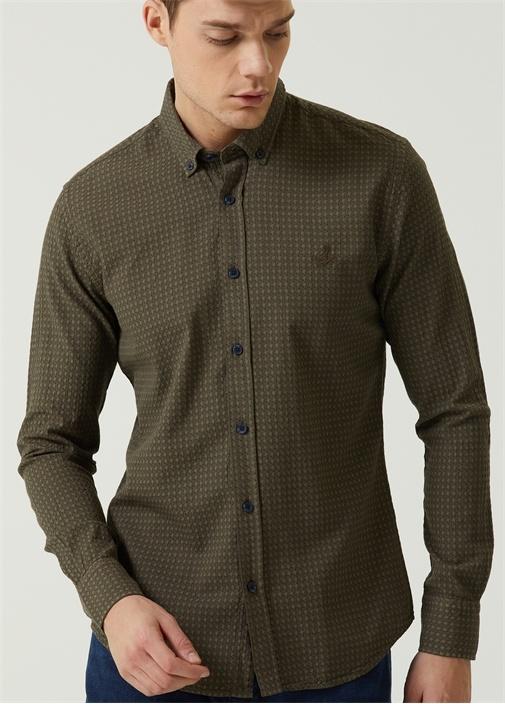 Slim Fit Haki İri Kazayağı Dokulu Gömlek