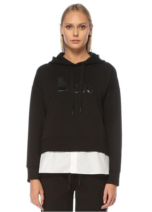 Siyah Kapüşonlu Gömlek Garnili Sweatshirt