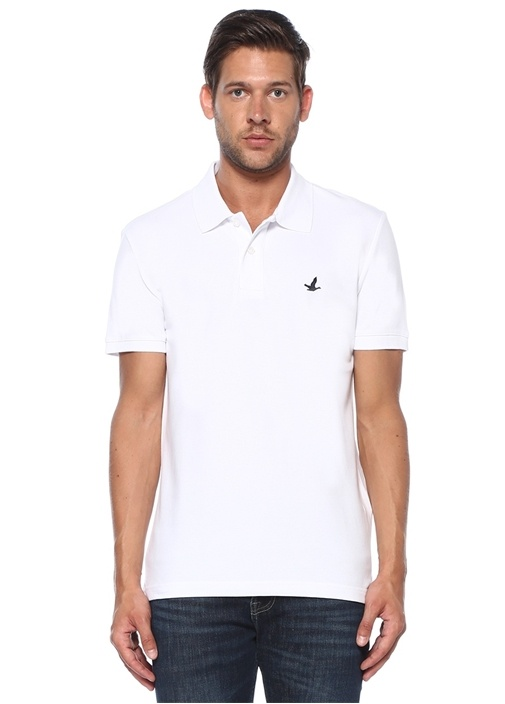 Slim Fit Beyaz Polo Yaka T-shirt
