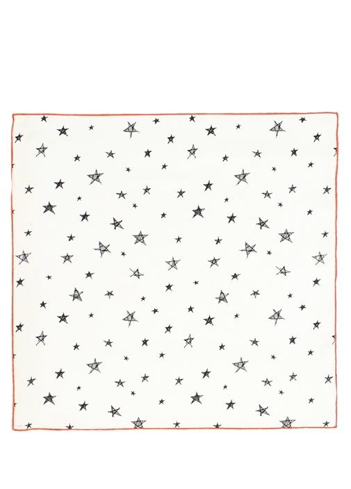 Beyaz Yıldız Desenli 50x50 cm Kadın İpek Eşarp