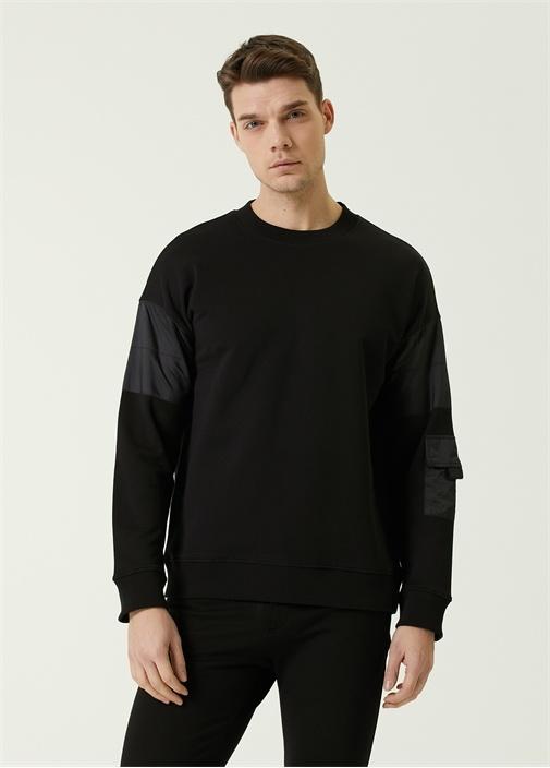 Siyah Garni Detaylı Logolu Oversized Sweatshirt