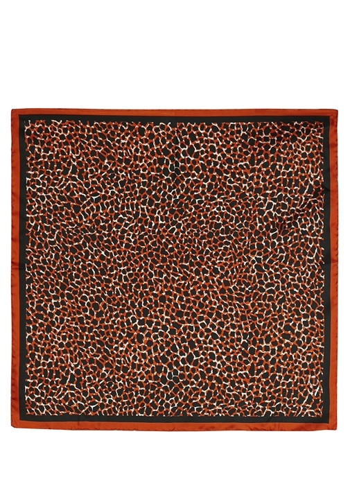 Turuncu Zürafa Desenli 50x50 cm Kadın İpek Eşarp