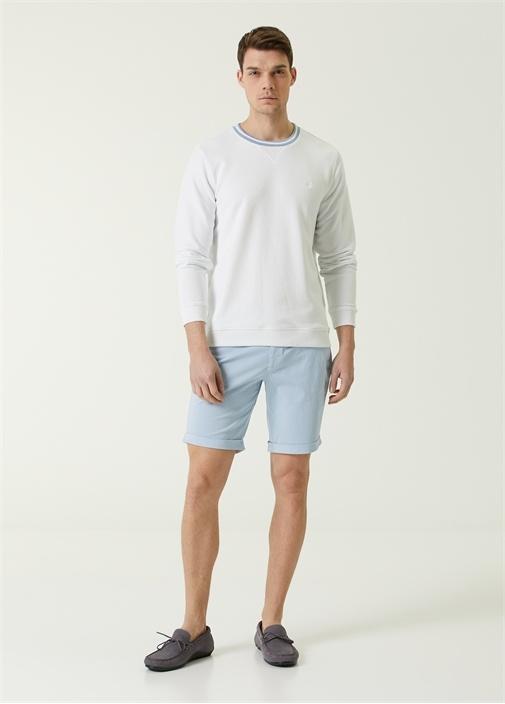 Beyaz Bisiklet Yaka Şeritli Sweatshirt