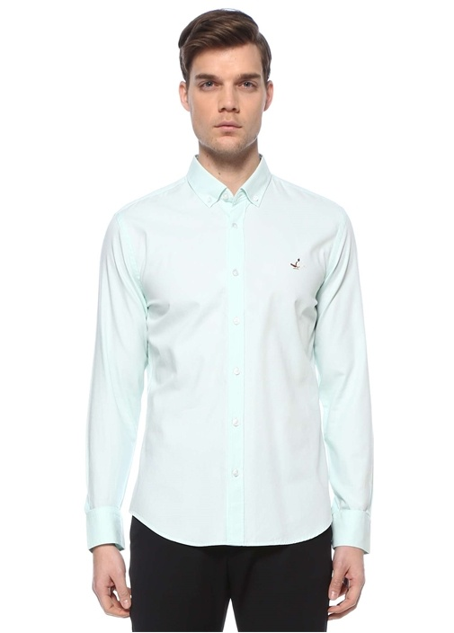 Slim Fit Yeşil Düğmeli Yaka Oxford Gömlek