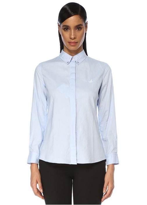 Mavi Logolu Oxford Gömlek