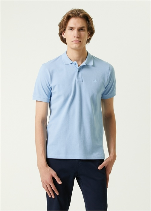 Comfort Fit Mavi Polo Yaka Dokulu T-shirt