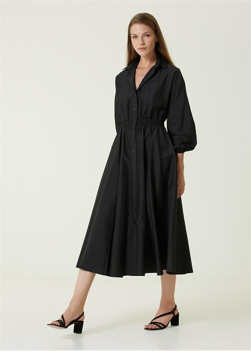 Siyah Beli Lastikli Midi Gömlek Elbise