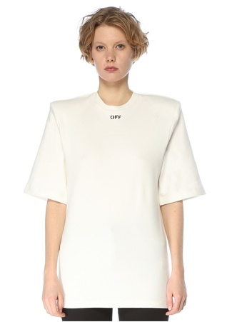 Off-White Kadın Beyaz Bisiklet Yaka Omzu Vatkalı T-shirt 42 IT