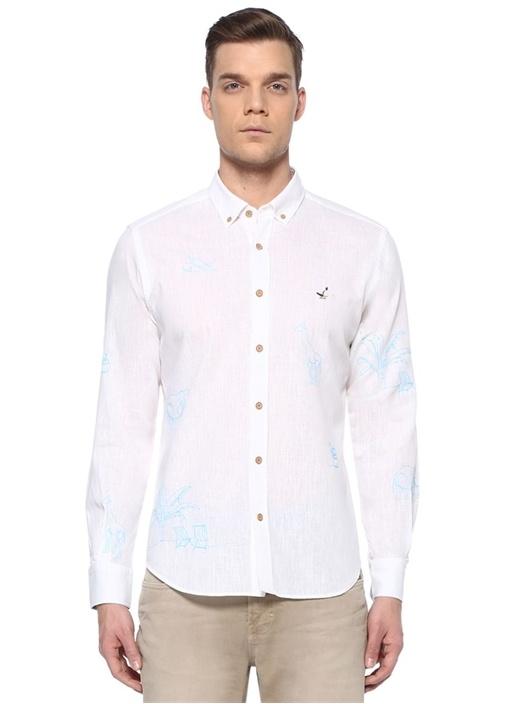Comfort Fit Beyaz Polo Yaka Safari Nakışlı Gömlek
