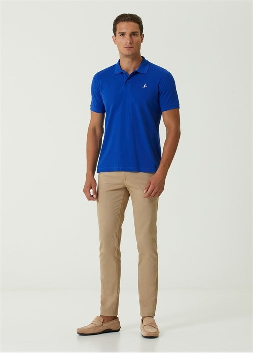 Basic Comfort Fit Mavi Polo Yaka T-shirt