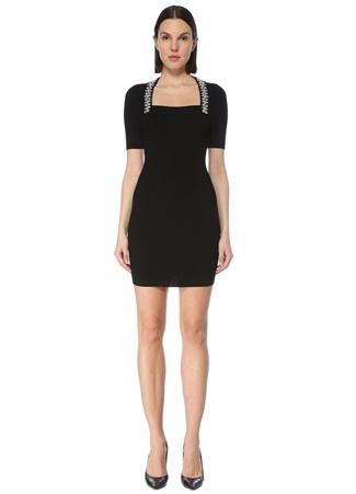 Balmain Kadın Siyah Kare Yaka İşlemeli Mini Triko Elbise 36 FR