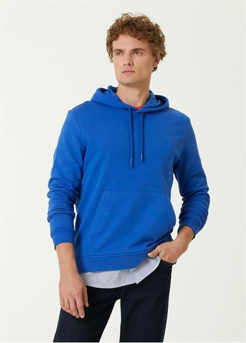 Mavi Kapüşonlu Gömlek Garnili Sweatshirt