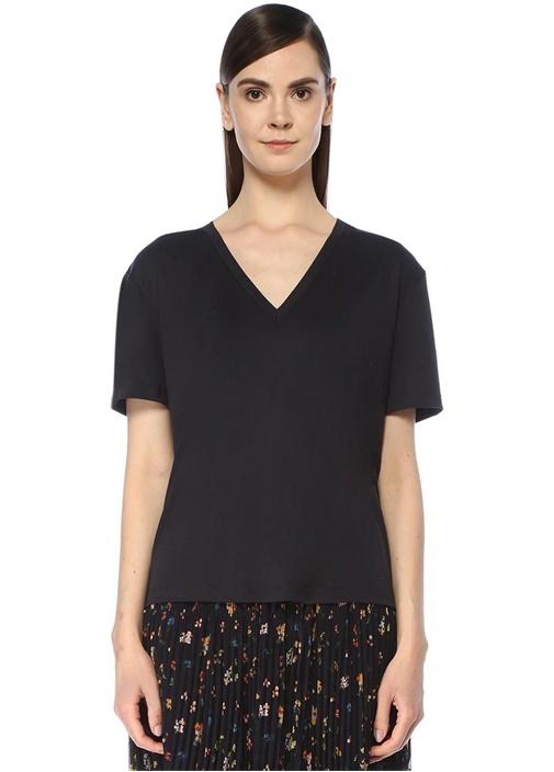 Lacivert Parlak Tensel Basic T-shirt