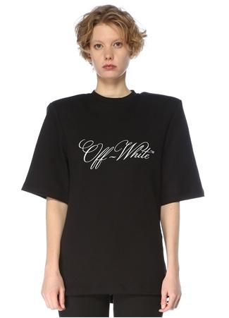Off-White Kadın Siyah Bisiklet Yaka Logolu Omzu Vatkalı T-shirt 42 IT