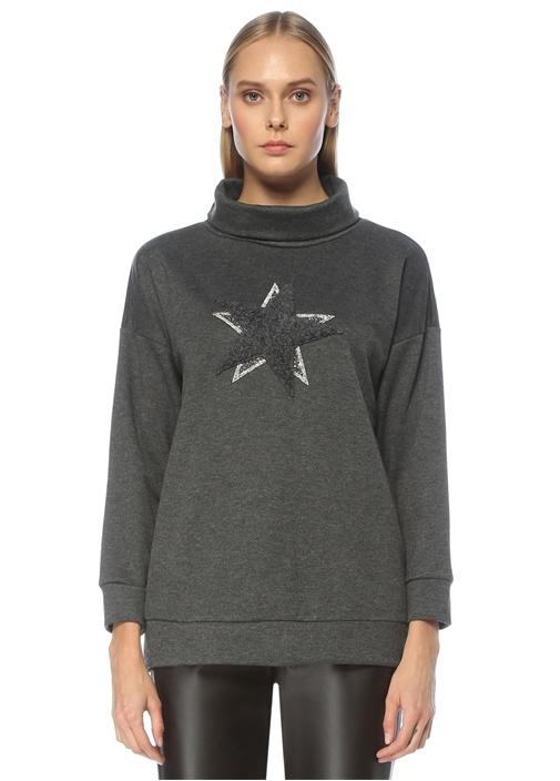 Antrasit Dik Yaka Yıldız İşlemeli Sweatshirt