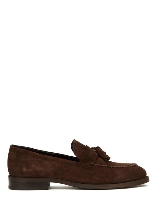 Kahverengi Püskül Detaylı Erkek Süet Loafer