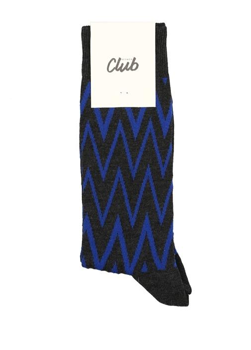 Antrasit Zikzak Desenli Erkek Çorap