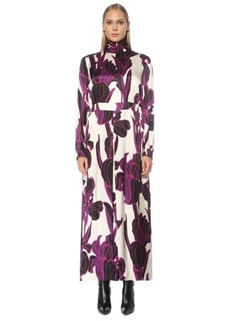 Dries Van Noten Kadın Şeftali Dik Yaka Çiçekli İpek Midi Abiye Elbise Pembe 38 FR