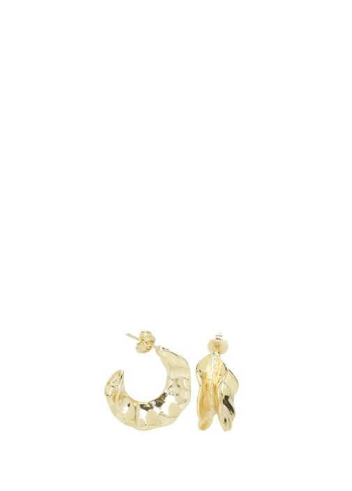 Gold Amorf Formlu Kadın Ay Küpe