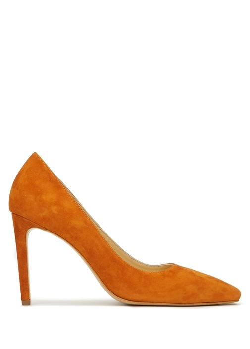 Turuncu Süet Topuklu Ayakkabı